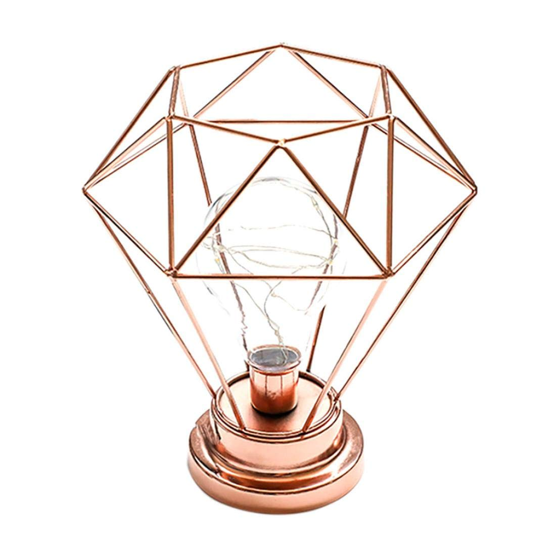 Sonmer Creative Diamond Iron Frame Photography Prop Desk Lamp, for Bedroom Decoration (Rose Gold)