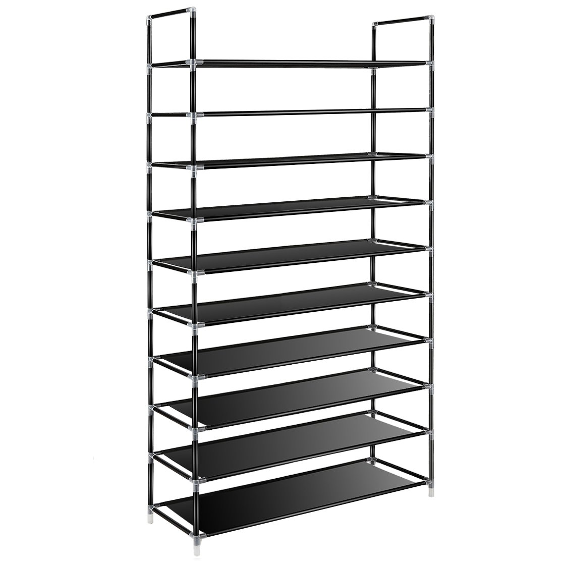 TomCare 10 Tier Shoe Rack 50 Pairs Shoe Organizer Shoes Storage Shoe Shelf Shoe Tower - No Tools Required Non-Woven Fabric for Home Bedroom, Black E-2003