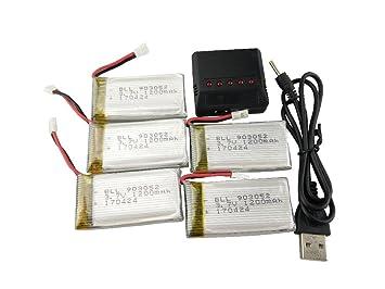 Fytoo 5PCS 3.7V 1200mAh Litio Batería y 5 en 1 Cargador para Syma ...