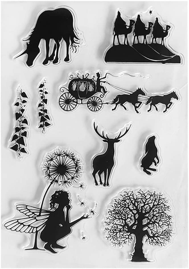 chuwa Clear Stamps for Cards Making Fairy Botany Transparent Stamps DIY Cling Seal Scrapbook Embossing Photo Album Decor Craft