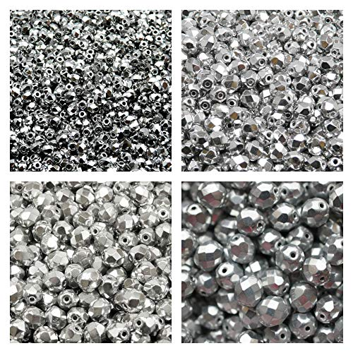 Faceted Glass Beads Round 3mm, 4mm, 6mm, 8mm, Silver. Set 1CFP 004 (3FP033 4FP033 6FP033 8FP033) ()