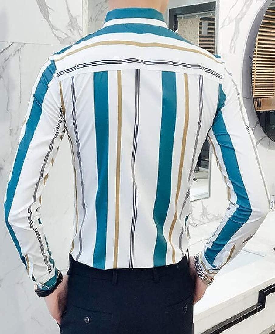 ARTFFEL Mens Stripe Long Sleeve Lapel Regular Fit Hair Stylist Work Button Down Shirts Tops