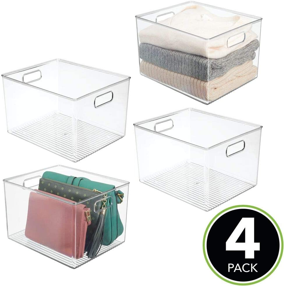 mDesign Plastic Home Storage Basket Bin with Handles for Organizing Closets Clear Shelves and Cabinets in Bedrooms Entryways and Hallways 2 Pack Bathrooms