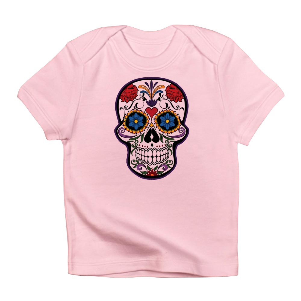 Truly Teague Infant T-Shirt Floral Sugar Skull Day Of The Dead Petal Pink 6 To 12 Months