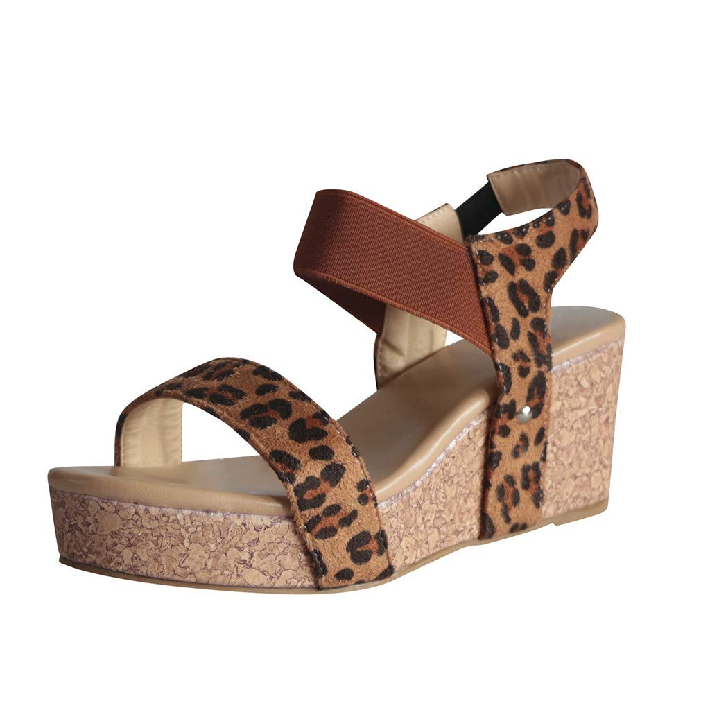 Nadition Wedges Sandals ❤️️ Womens Fashion Open Toe Ankle Elastic Band Sandals Summer Beach Shoes Platform Roman Sandals Brown