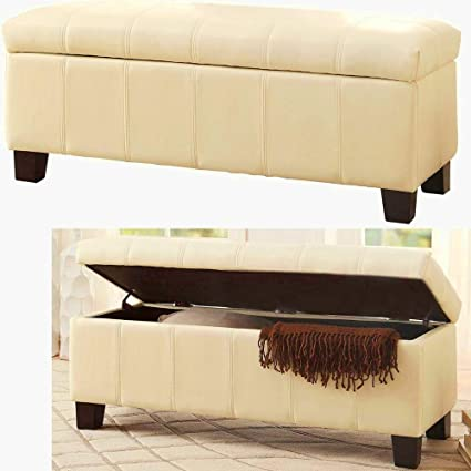 Ordinaire Long Ottoman Storage Box Beige Padded Cushion Seat Faux Leather Upholstery  Ottoman Bench With Lid Tufted