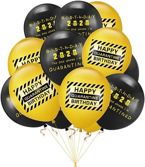 Amazon Com Rainlemon Happy Quarantine Birthday Latex Balloon Bday Party Decoration Pack Of 12 Home Kitchen