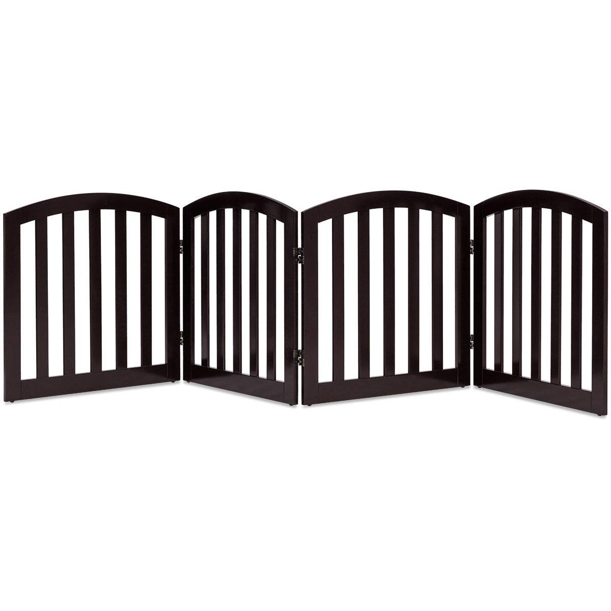 Giantex 24 Dog Gate with Arched Top Configurable Free Standing Wooden Gate with Foldable Panels and Sturdy Metal Hinges Pet Dog Safety Fence for Indoor Use