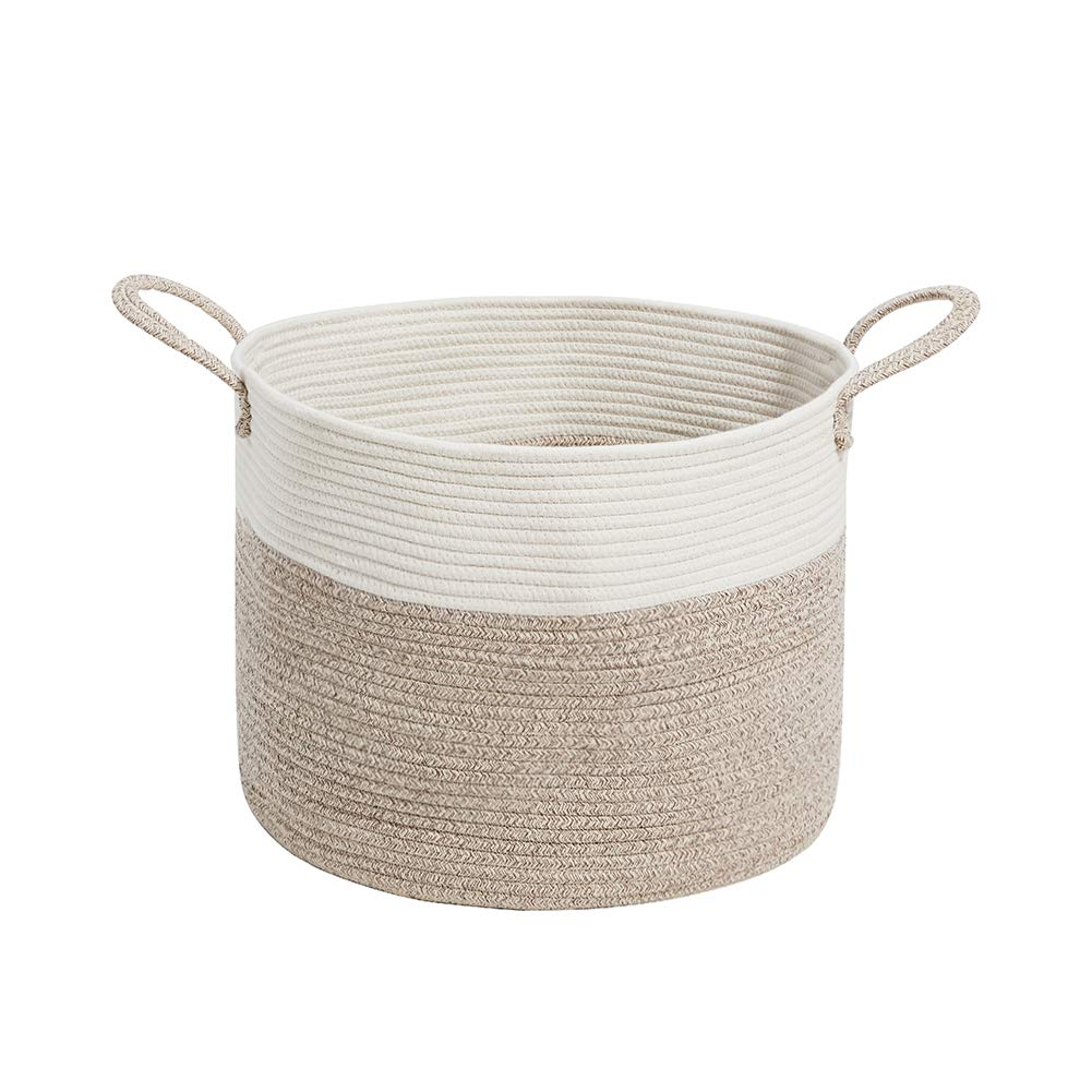 HanShoo Woven Storage Basket   Extra Large Cotton Rope Basket with Long Handles   Decorative Storage Bins for Storage Clothes, Blanket,Toy by HanShoo