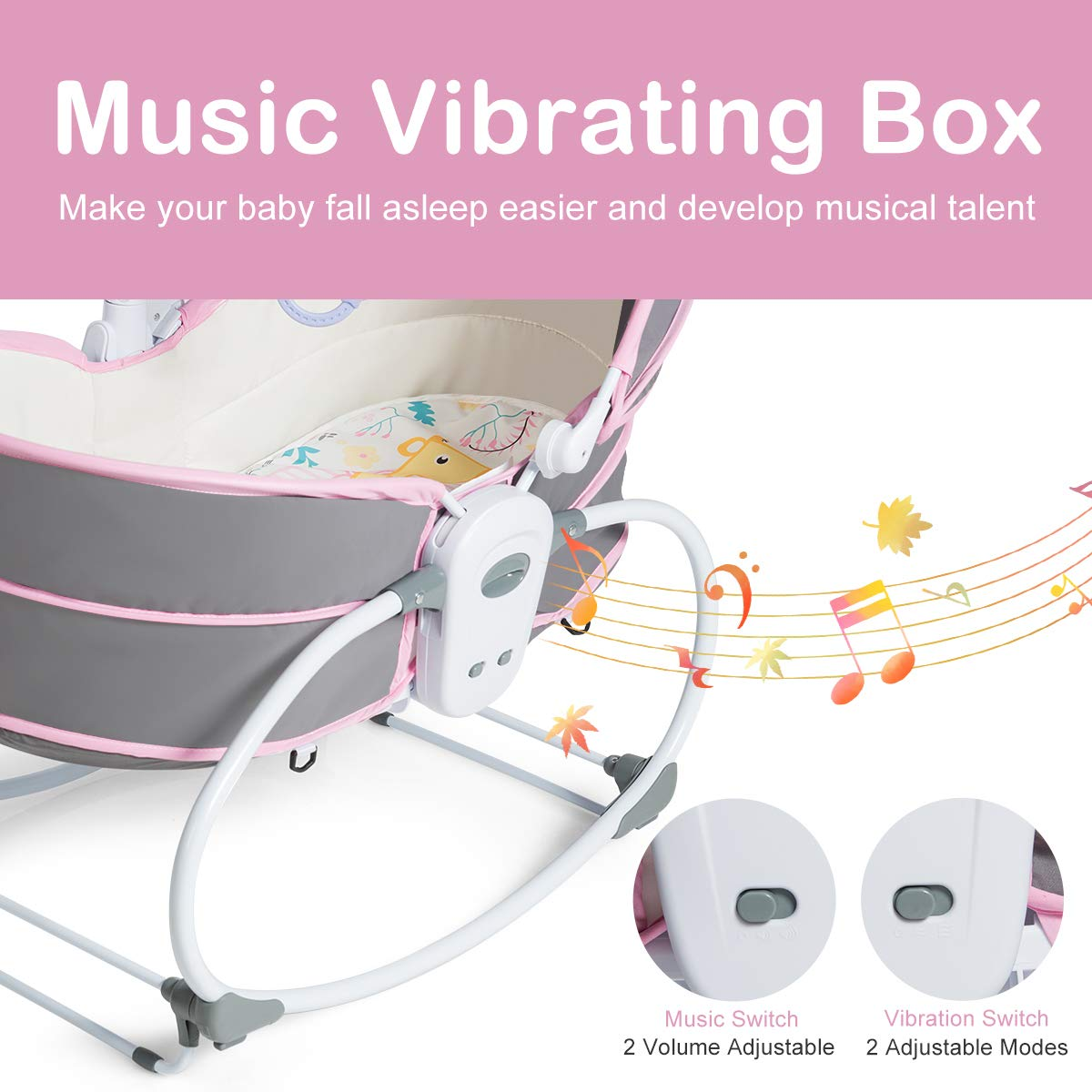 Multi-Functional Crib for Newborn Pink Portable Infant Travel Bed with Music and Toys HONEY JOY 5-in-1 Baby Rocking Bassinet Adjustable and Detachable Canopy