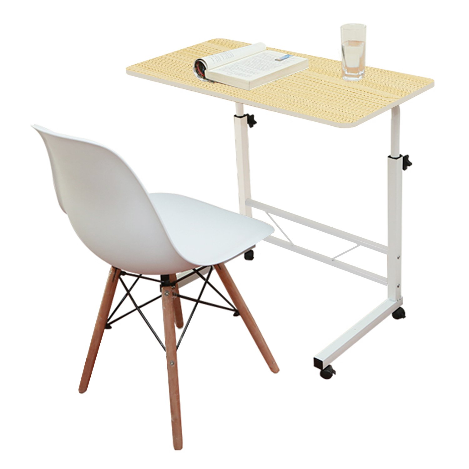 Jerry & Maggie - Adjustable Height Desk Laptop Desk Movable Bedside Table Lapdesk with 4 wheels Flexible Wooden Stand Desk Cart Tray Side Table - Light Wood Tone