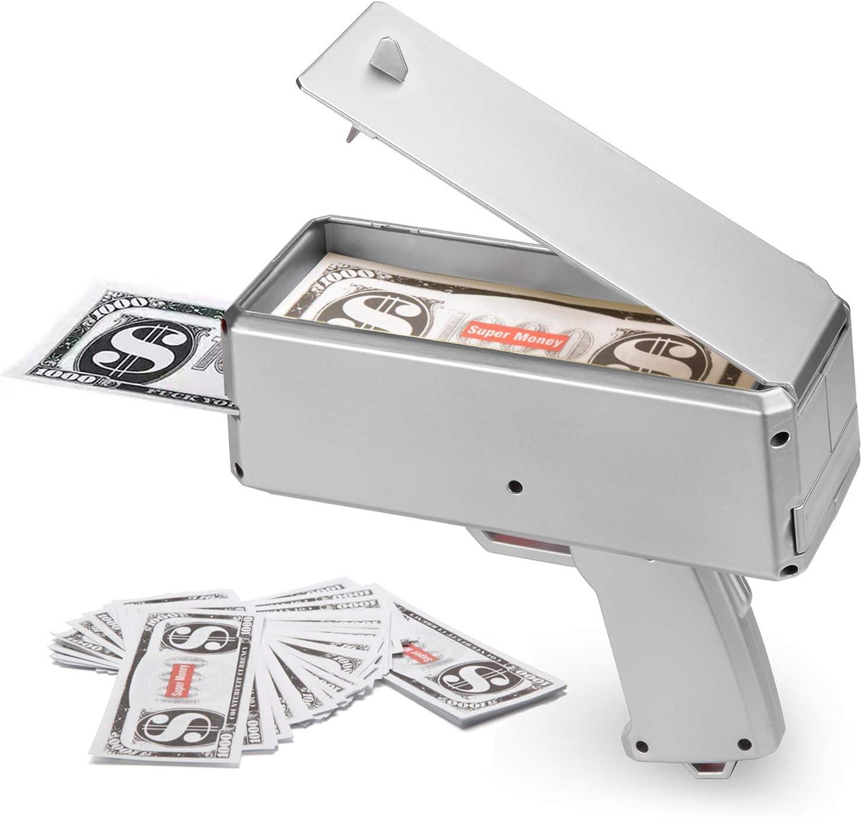 Super Money Launch Gun Cash Launcher In Box Sprinkle Toy Party Prop USB Charging