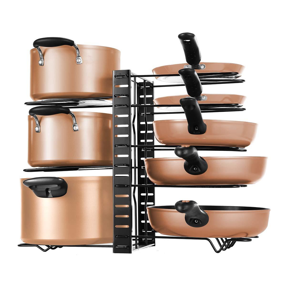 Pot Rack Organizers, 8 Tiers Pots and Pans Organizer, Adjustable Pot Lid Holders & Pan Rack for Kitchen Counter and Cabinet, Lid Organizer for Pots and Pans With 3 DIY Methods(Black)