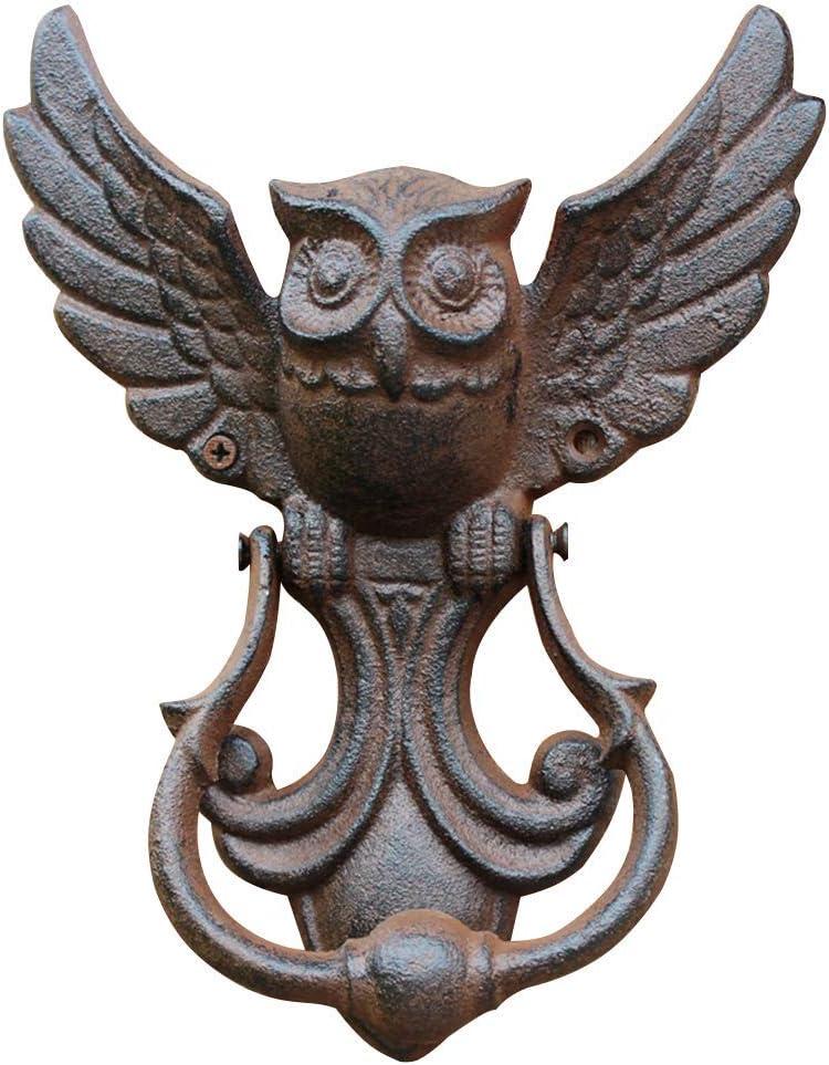 Búho Puerta Aldaba, Casa Puertas Hierro Fundido Tirar Manija Vintage Búho Estilo Antiguo Decorativo Puerta para Su Jardín/Madera Casa/Granja - Marron