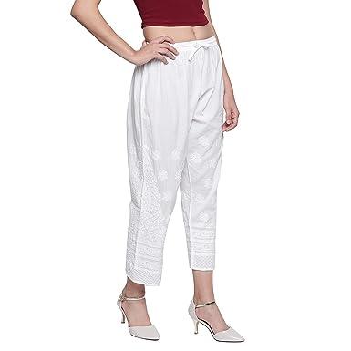 f3ff15d0ed Indiankala4U Ladies pants Womens palazzo trousers Indian hand Embroidery  chikankari salwar bottom