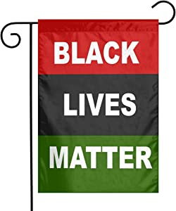 Juhucc Black Lives Matter Afro Flag Double-Sided Garden Flags Banner Car Flag forPan African Red Black Green Flags 12.5 X18 in