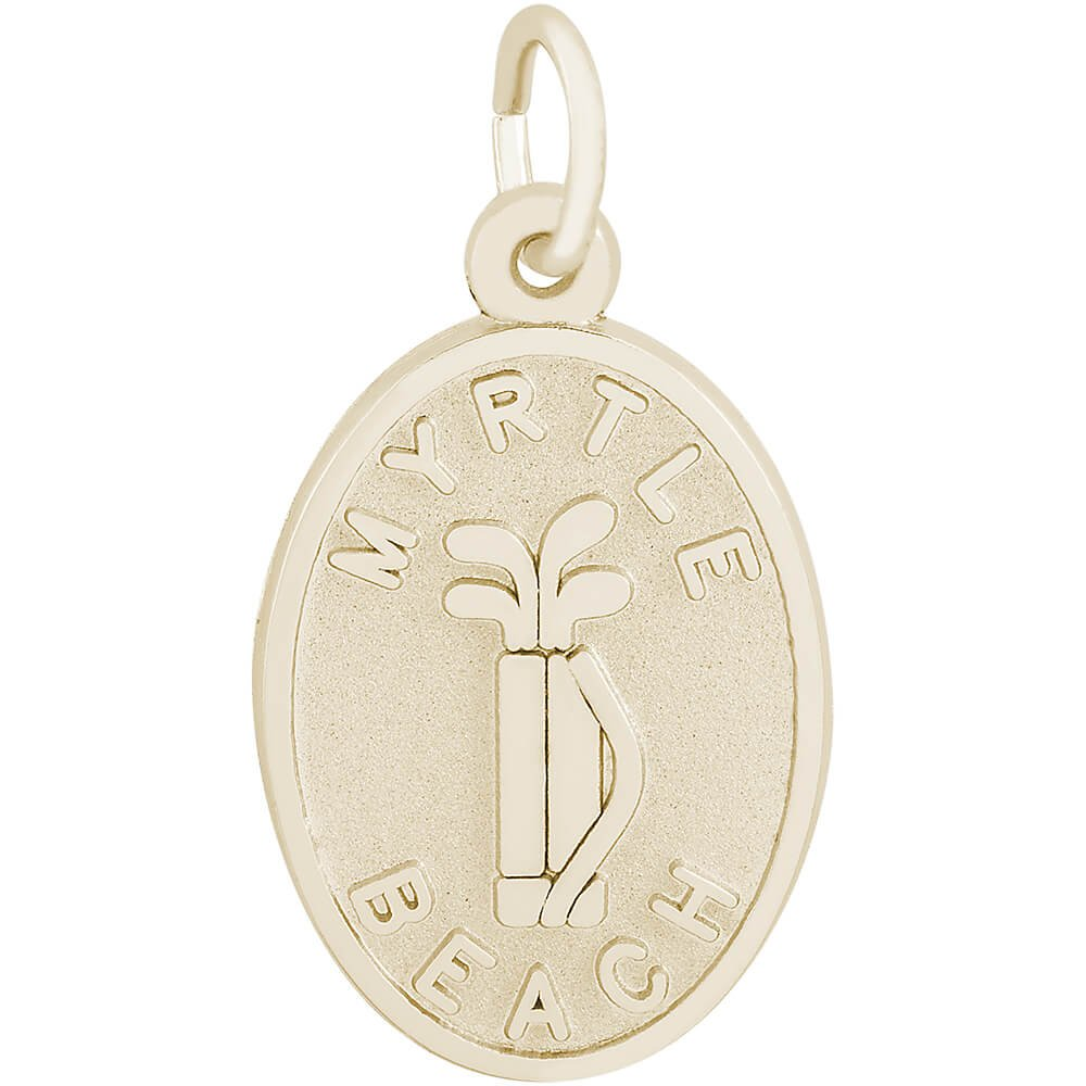 Rembrandt Charms 10K Yellow Gold Myrtle Beach Golf Bag Charm (0.75 x 0.55 inches)