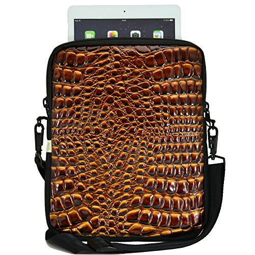 Tablet Bag with Shoulder Straps | Compatible with iPad, Samsung, Acer and 10.5in Tablets | Fits Mobile Device and Phone | Made in USA | Croc Golden Brown Color
