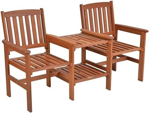 LD té de Bench – Banco de jardín con mesa 2 plazas para jardín banco de madera banco asiento Park: Amazon.es: Jardín