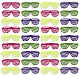 Party Sunglasses - 36-Pack of Neon Color Plastic Slotted Shutter Shades 80s Party Favors Supplies Eye-wear Glasses Props in Yellow, Purple, Pink, Green