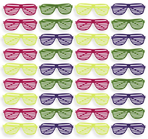 Party Sunglasses - 36-Pack of Neon Color Plastic Slotted Shutter Shades 80s Party Favors Supplies Eye-wear Glasses Props in Yellow, Purple, Pink, Green -
