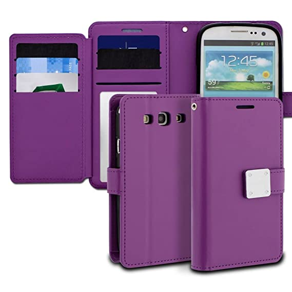 newest b0086 5e8f0 Galaxy S3 Case, ModeBlu [Mode Diary Series] [Purple] Wallet Case ID Credit  Card Cash Slots Premium Synthetic Leather [Stand View] for Samsung Galaxy  ...