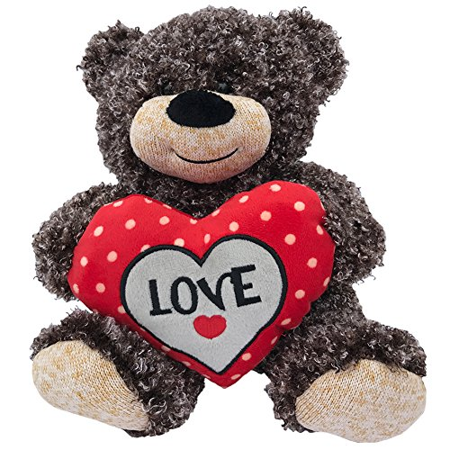Valentines Teddy Bear Brown Curly Hair Plush with LOVE Heart - 11 inch Valentines Day Stuffed Animal - Soft Brown Bear Sitting with Big Red Stitched Love Heart Perfect Valentines Day Gift