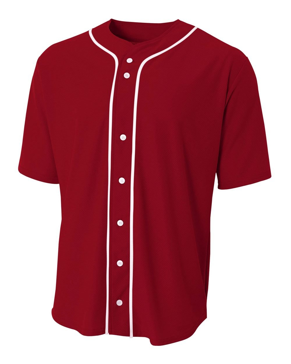 A4 Sportswear Cardinal Youth Large (Blank) Full-Button Baseball Wicking Jersey by A4 Sportswear