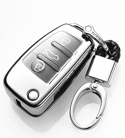Black YUWATON Car Remote Key Cover Key Case Keychains for Audi A3 A4 A5 A6 A7 Key case Q3 Q5 Q7 Car Key Set Key Fobs