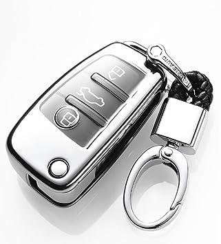 YUWATON Funda para Llave de Coche con Mando a Distancia para Audi, A1, A3, A5, Q3, Q7, Carcasa para Llave, Llavero Plata