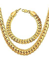 U7 Mens Chain Set 9mm Wide Snake Chain Bracelet & Necklace Set Gold/Platinum/Rose Gold/Black