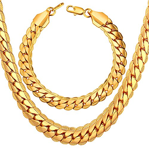 """U7 Men Chunky Necklace Bracelet Set 18K Stamp Copper Based Gold Plated 9MM Wide Thick Snake Chain Hip Hop Punk Jewelry (20""""/8.3"""")"""