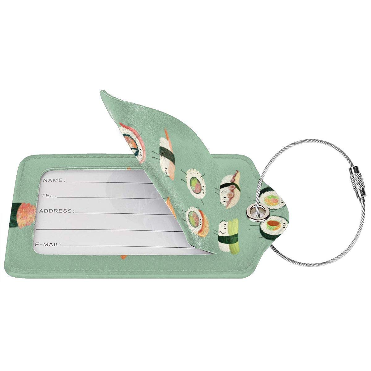 Delicious Sushi Travel Luggage Tags With Full Privacy Cover Leather Case And Stainless Steel Loop