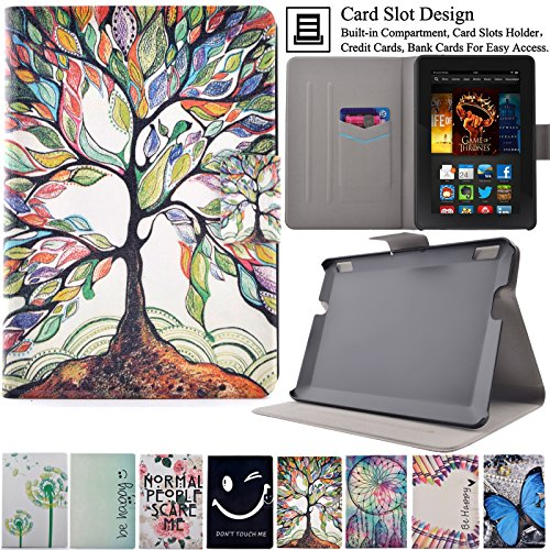 Kindle Fire HDX7 Case, Artyond Ultra Lightweight PU Leather Case Flip Stand Magnet [Auto Wake/Sleep Feature] Protective Slim Folio [Cards Slots] Smart Case For Amazon Kindle Fire HDX 7 2013(Tree)