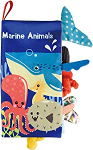 Soft Cloth Books for Babies - 3 Kinds Animal Early Educational Activity Crinkle Books for Infant , Great Shower Gift for Toddlers , Newborn Gifts for 0-6 Months ,Great Cloth Book (Marine Animals)