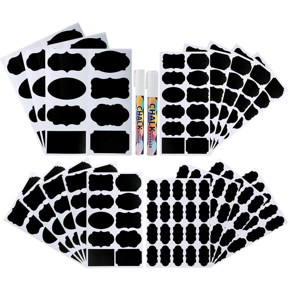 Etichette lavagna 214 pezzi 4 formati adesivi lavagna dispensa casa e ufficio kit adesivo impermeabile riutilizzabile lavagna con 2 pennarelli per decorare barattoli