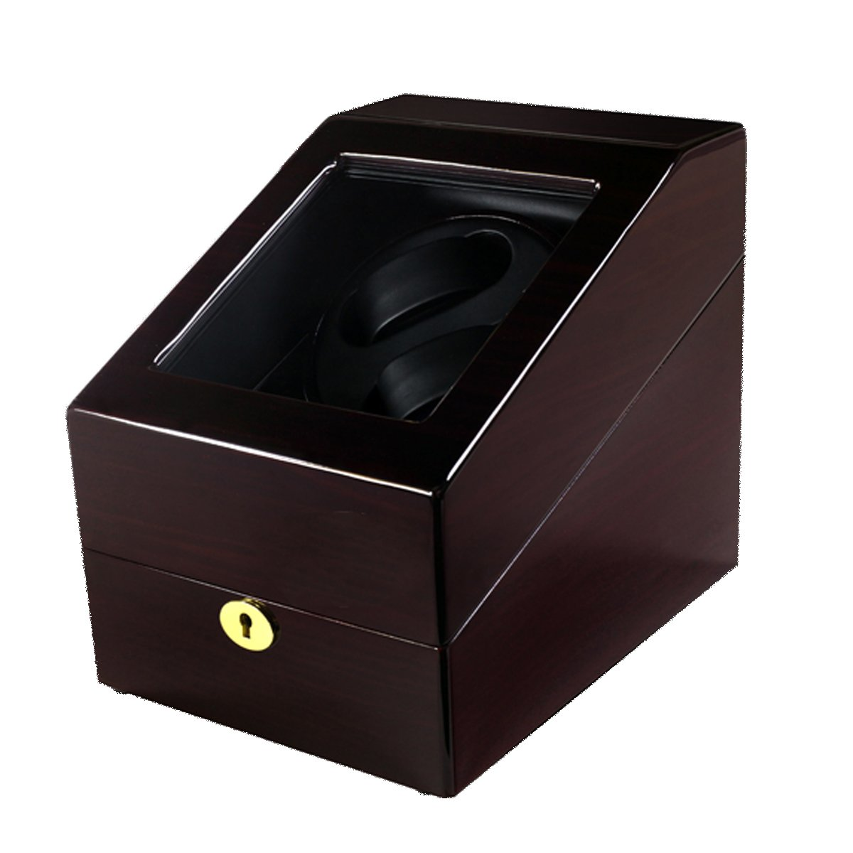 2+3 Automatic Watch Winder Box in Brown Luxury Spinning Watch Holder Wood Panel Hand Polished Piano Paint