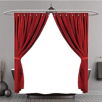 Duschvorhang 351554273 Rot Theater Vorhang Polyester Auf Weißem  Hintergrund Bad Vorhang