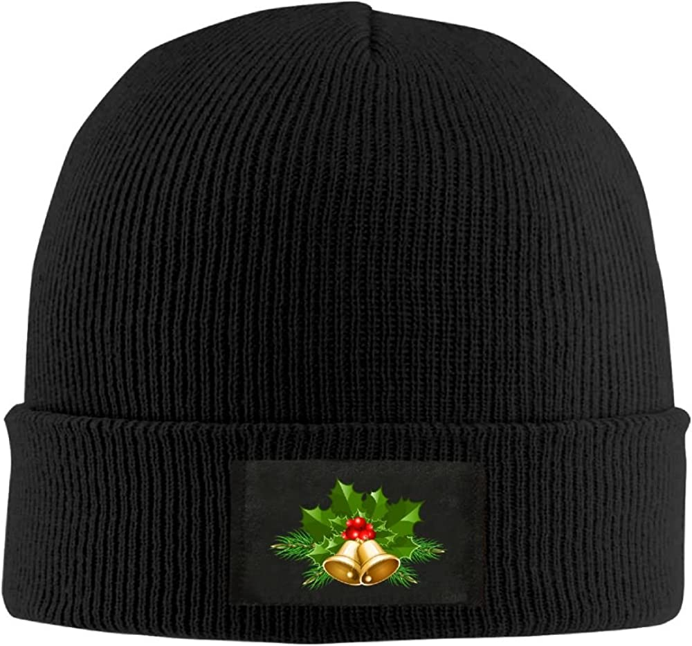 Men Women Christmas Bells Warm Stretchy Solid Daily Skull Cap Knit Wool Beanie Hat Outdoor Winter
