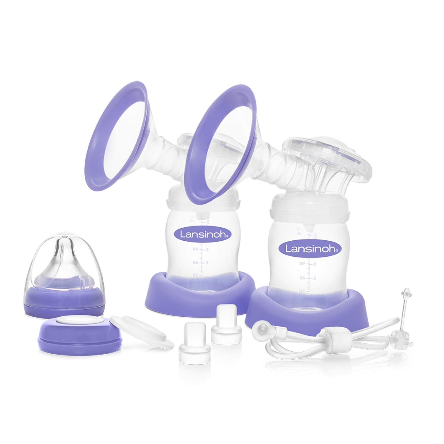 Lansinoh Extra Pumping Set Pump Parts with 2 Breast Cups, 2 Collection Bottles, Tubing, and Parts for Smartpump or Signature Pro Double Electric, Pumping Essentials