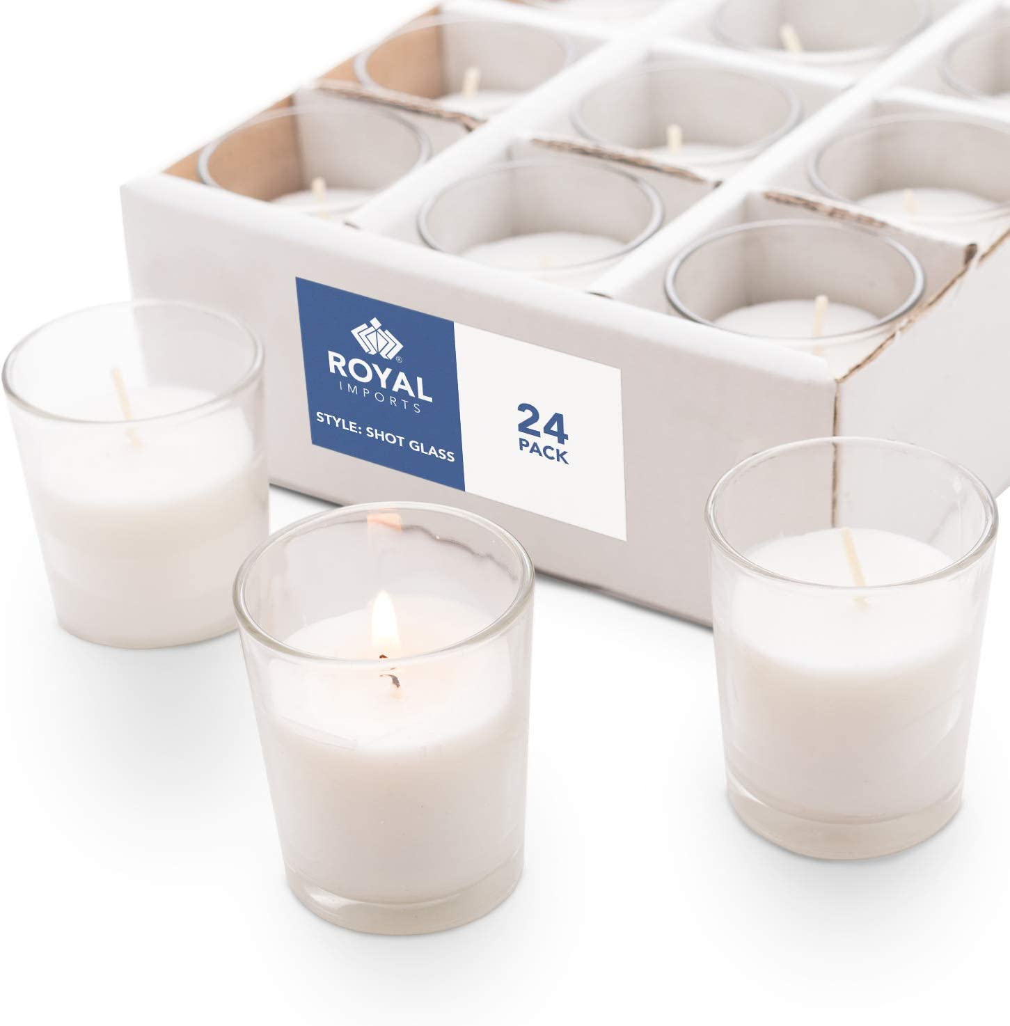 Royal Imports Candle Holder Glass Votive for Wedding, Birthday, Holiday & Home Decoration, Shot Glass, Set of 24 - Wax Filled