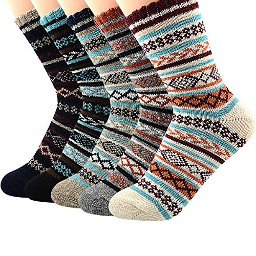 Century Star Womens Ultra Light Thermal Cashmere Wool Full Cushion Crew Cute Winter Socks 5 Pairs Diamond1
