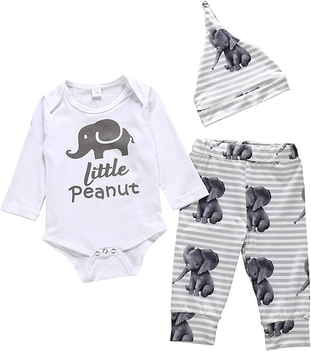 Toddler Baby Boys Outfits Sets Newborn Long Sleeve Romper Bear Animal Bodysuit Top with Geometry Pants Set + Hat