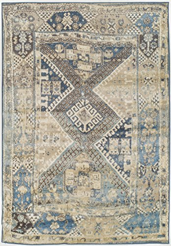 Premium Heavy-Duty Thick Traditional Area Rugs Blue Beige Navy Brown Cream Oriental Rug Distressed Vintage Carpet For Living Rooms on Clearance (Large 8'x11')
