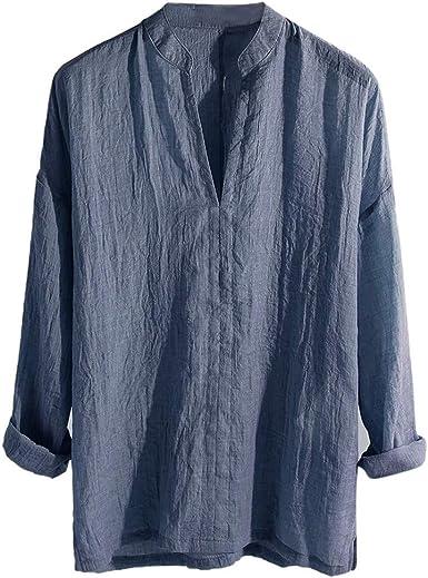 PARVAL Camisa Casual Retro para Hombre Botón Camiseta Transpirable Camisetas de Manga Larga Camisas Sueltas Color sólido Blusa con Cuello en v Blusa Regular Corte Regular Camisa de Lino a: Amazon.es: Ropa