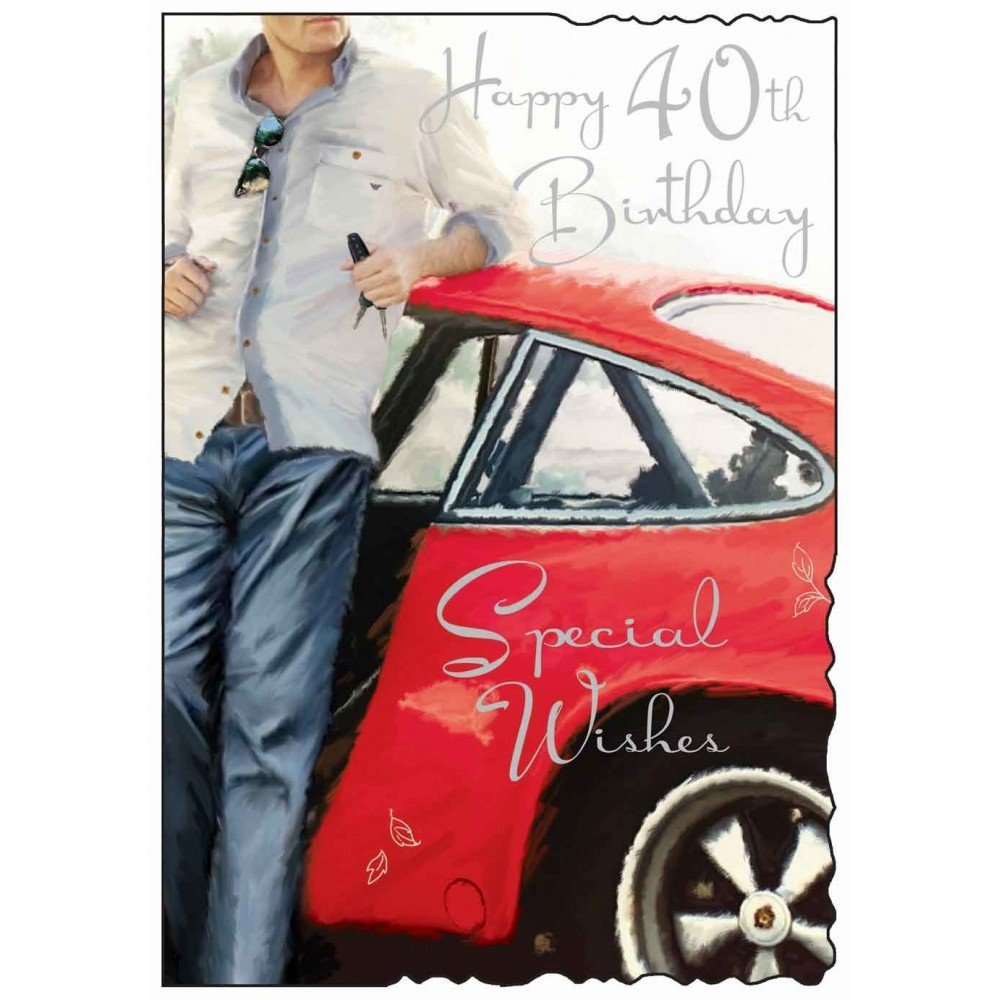 Jonny Javelin Red Car Male Age 40 Birthday Card Amazoncouk – Birthday Card for a Man