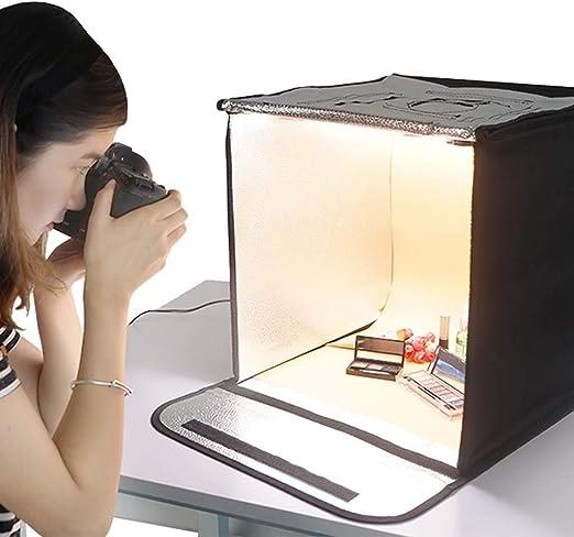 Gona Portable Photo Studio - 40 × 40 Cm Caja Fotográfica Juego De Iluminación Para Tiendas De Campaña Con 56 Pcs. Lámpara LED 5500 K Cuentas De Cubos Plegables Caja Profesional De Fotografía: Amazon.es: Hogar