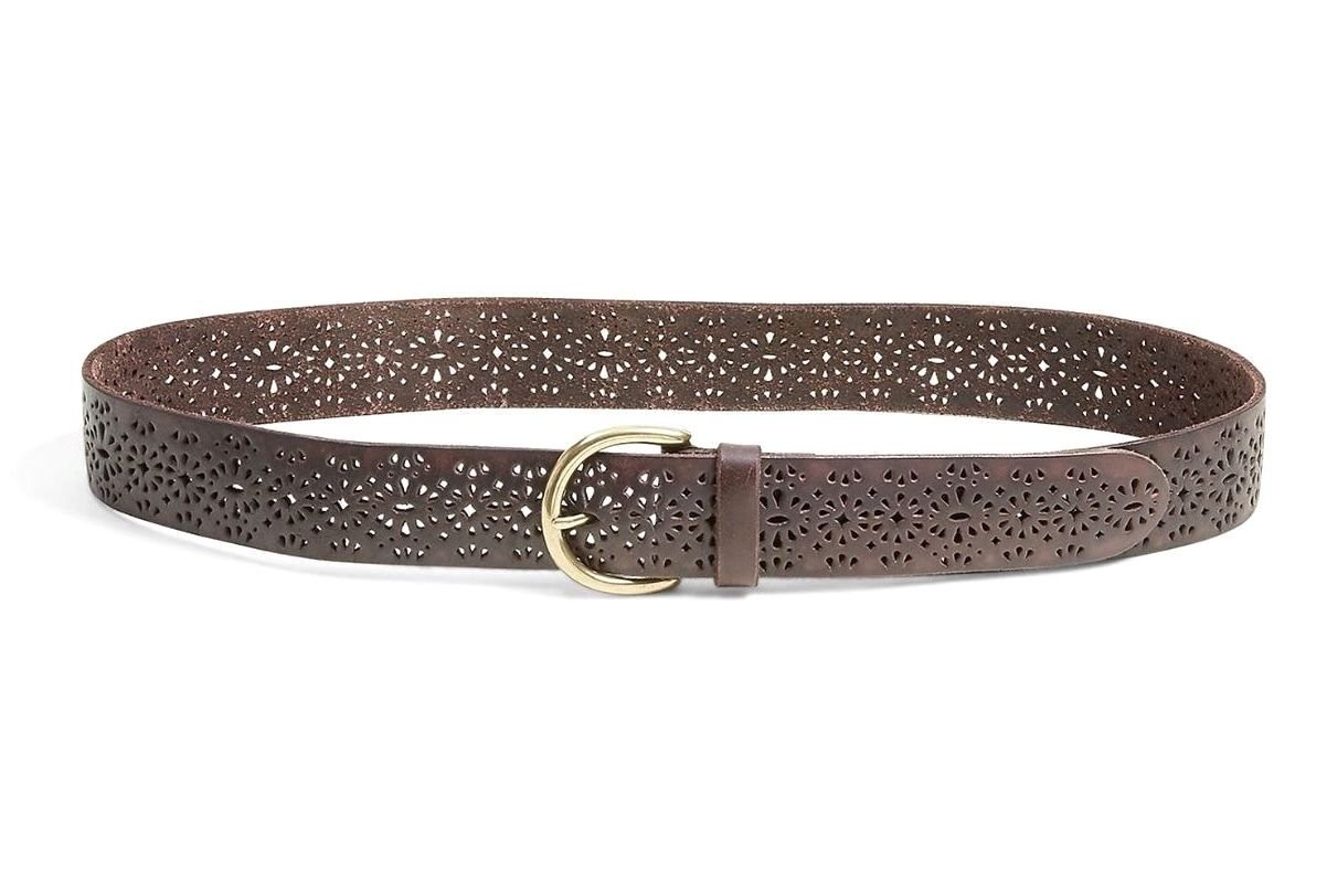 Lucky Brand - Women's 1.5'' Lomita Perforated Tooled Brown Leather Belt (X-Small)