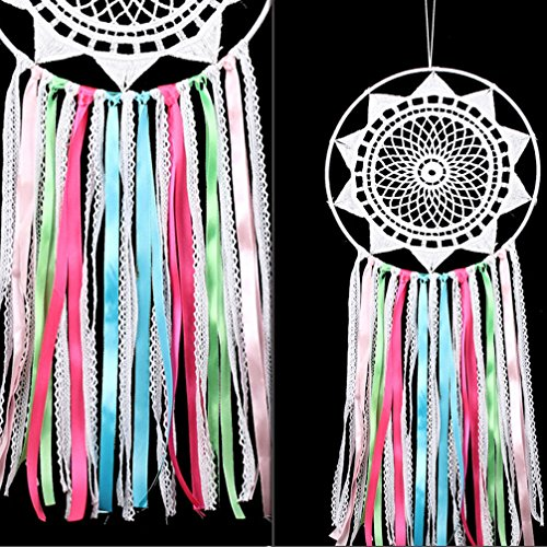 Handmade Ribbon Tassel Dream Catcher - Traditional Wall Hanging Decoration Ornament Gift­ (Colorful Ribbon lace Dream cathcer)
