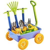 deAO Pull Along Wagon Kids Wheelbarrow and Gardening Tools Playset Game of Botany and Gardening for Children Set Includes 10 Accessories and 4 Plant Pots